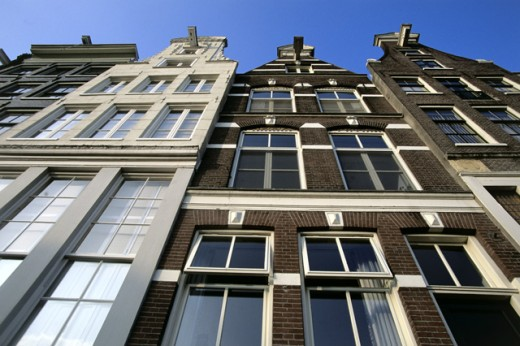 Low angle view of buildings, Amsterdam, Netherlands : Stock Photo