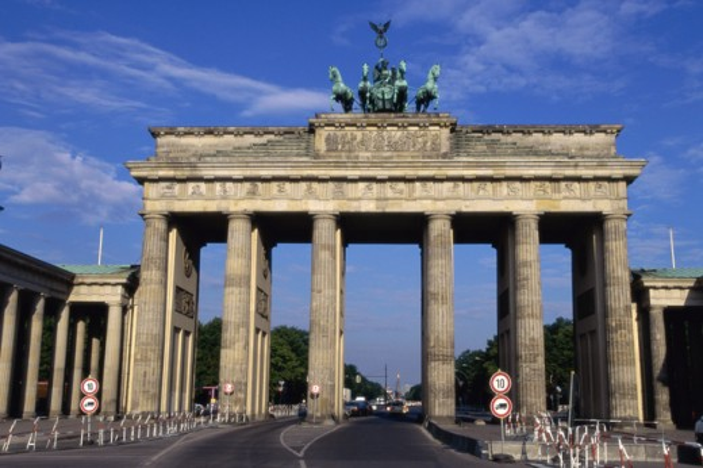 Facade of the Brandenburg Gate, Berlin, Germany : Stock Photo