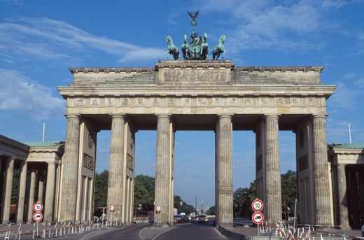 Stock Photo: 1096-1852C Low angle view of a memorial gate, Brandenburg Gate, Berlin, Germany
