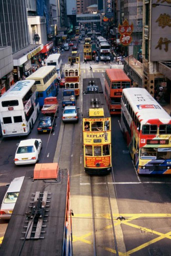 High angle view of traffic on a road, Hong Kong, China : Stock Photo
