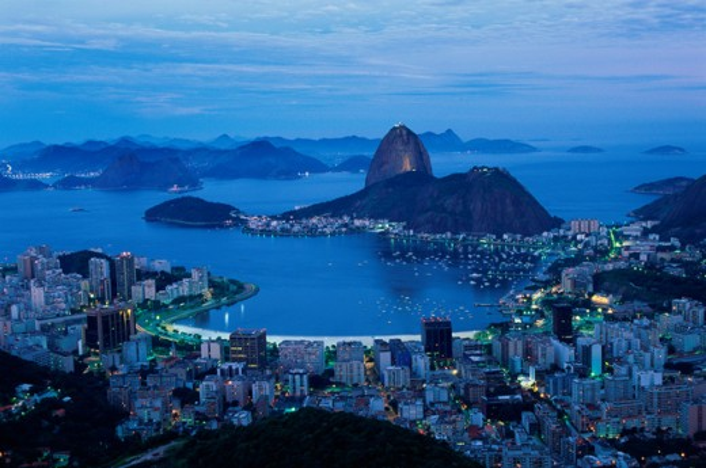 Stock Photo: 1096-1937A Aerial view of Sugarloaf Mountain, Rio de Janeiro, Brazil