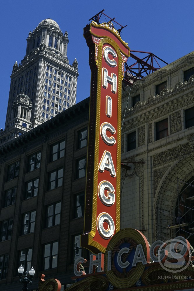 Sign at the Chicago Theater, Chicago, Illinois, USA : Stock Photo