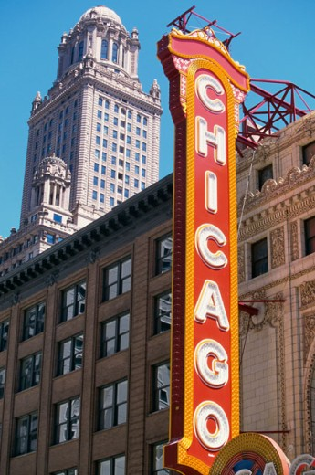 Stock Photo: 1096-2089 Low angle view of the Chicago Theater, Chicago, Illinois, USA