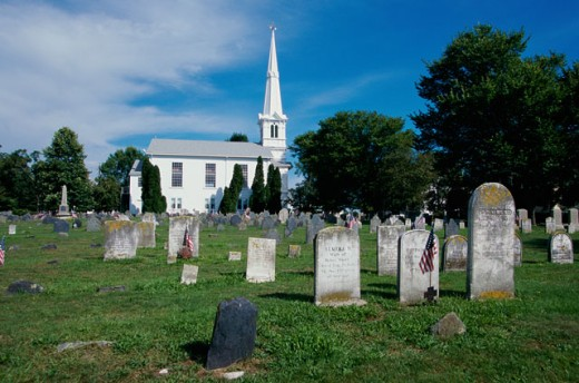 Tombstones in a cemetery, Newport, Rhode Island, USA : Stock Photo