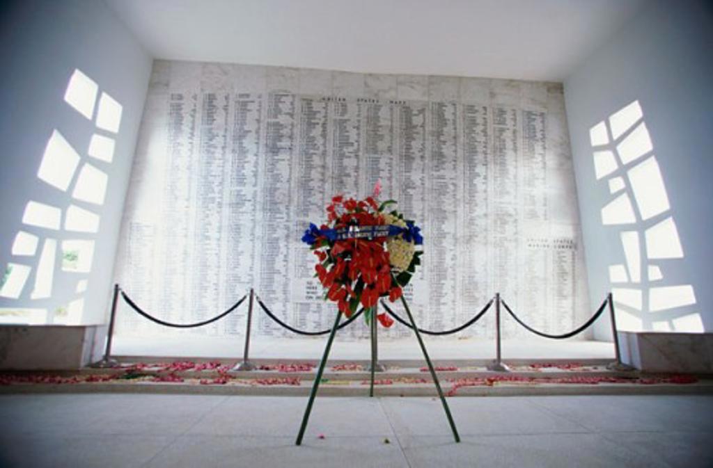 Stock Photo: 1096-242A USS Arizona Memorial Oahu Hawaii USA
