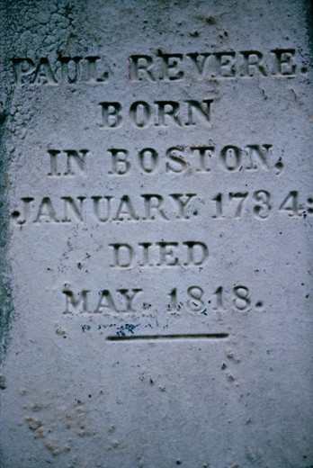Stock Photo: 1096-2478 Inscription on Paul Revere's Grave, Boston, Massachusetts, USA