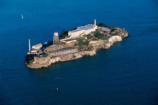 Stock Photo: 1096-2503 Aerial view of Alcatraz Island, San Francisco, California, USA