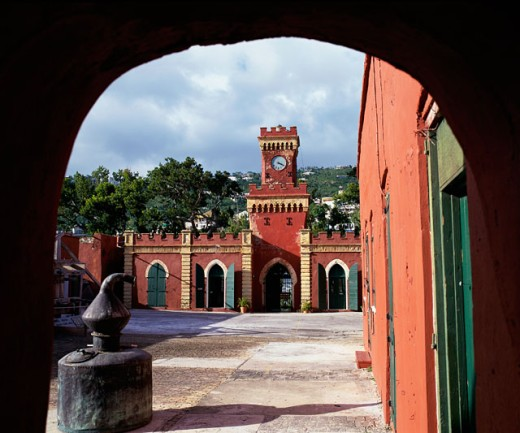 Archway at Fort Christian, Charlotte Amalie, St. Thomas : Stock Photo