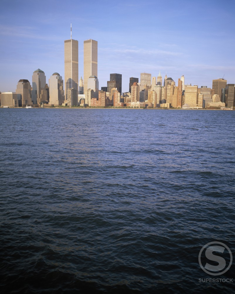 Stock Photo: 1096-714B Skyscrapers on the waterfront, World Trade Center, Manhattan, New York City, New York, USA