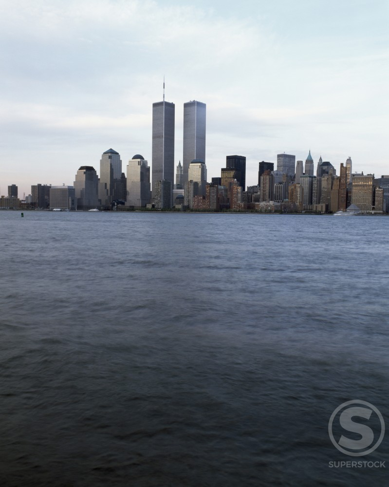 Skyscrapers on the waterfront, World Trade Center, Manhattan, New York City, New York, USA : Stock Photo