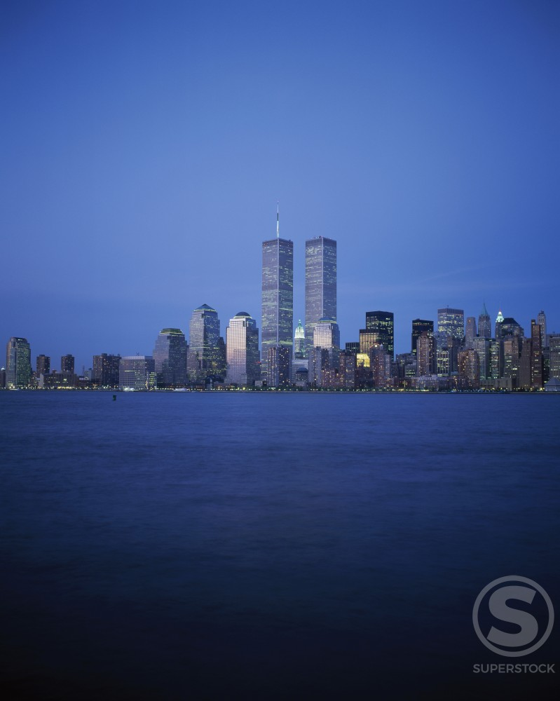 Stock Photo: 1096-724D Skyscrapers on the waterfront, World Trade Center, Manhattan, New York City, New York, USA