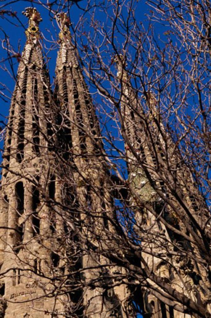Stock Photo: 1096-845B Low angle view of a basilica, Sagrada Familia, Barcelona, Spain