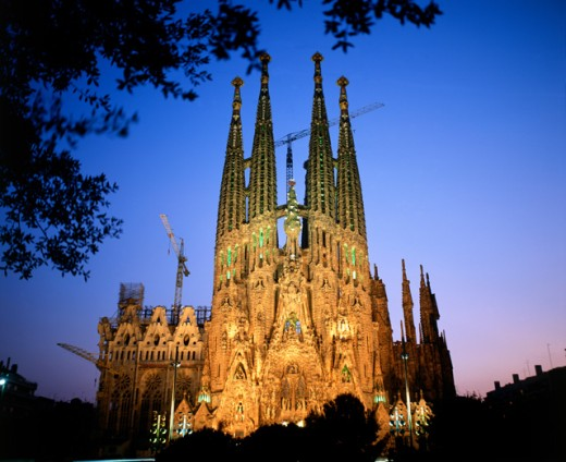 Sagrada Familia at dusk, Barcelona, Spain : Stock Photo