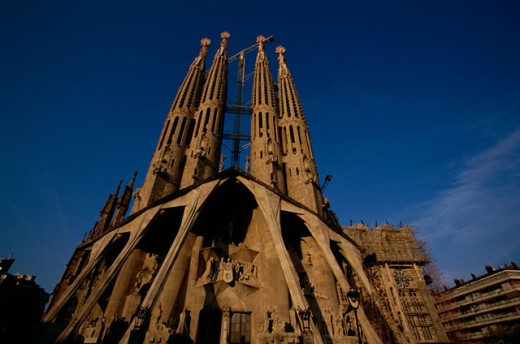 Stock Photo: 1096-863B Low angle view of a basilica, Sagrada Familia, Barcelona, Spain