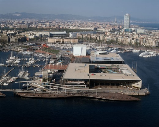 Stock Photo: 1096-888 Aerial view of Port Vell, Barcelona, Spain