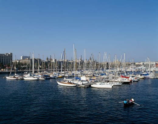Stock Photo: 1096-894 High angle view of boats moored in a harbor, Barcelona, Spain
