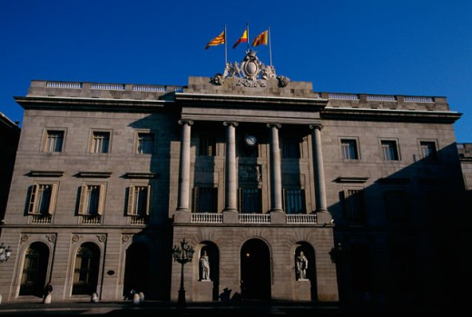 Low angle view of a government building, Casa de la Ciutat, Barcelona, Spain : Stock Photo