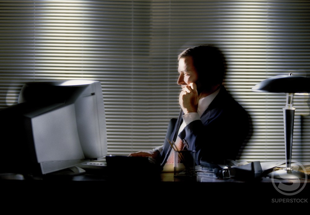 Side profile of a businessman working on a computer and talking on the telephone : Stock Photo