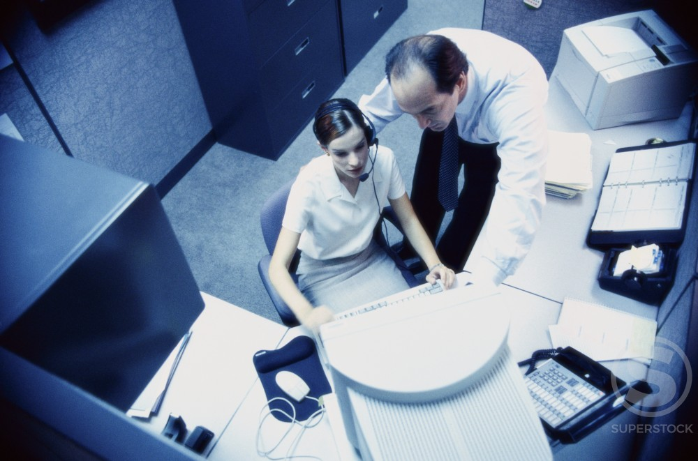Stock Photo: 1098-2600A High angle view of a businessman and a businesswoman