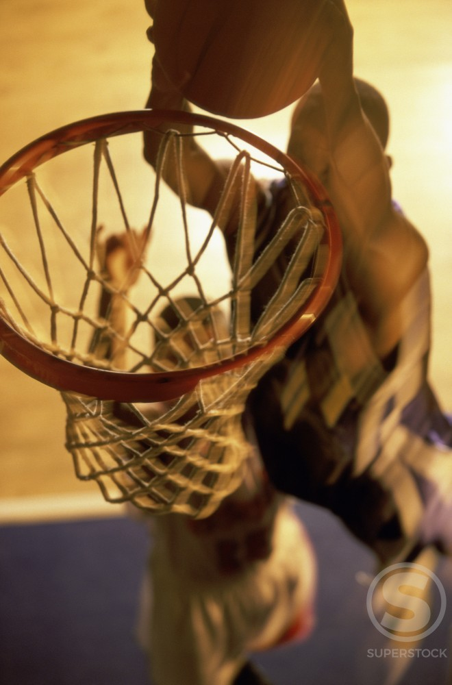 Stock Photo: 1099-1828A High angle view of two young men playing basketball