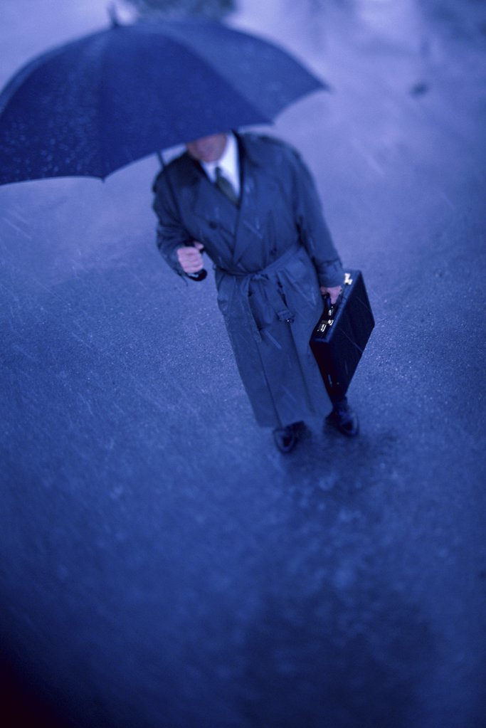 Stock Photo: 1099-3385 High angle view of a businessman holding an umbrella and a briefcase