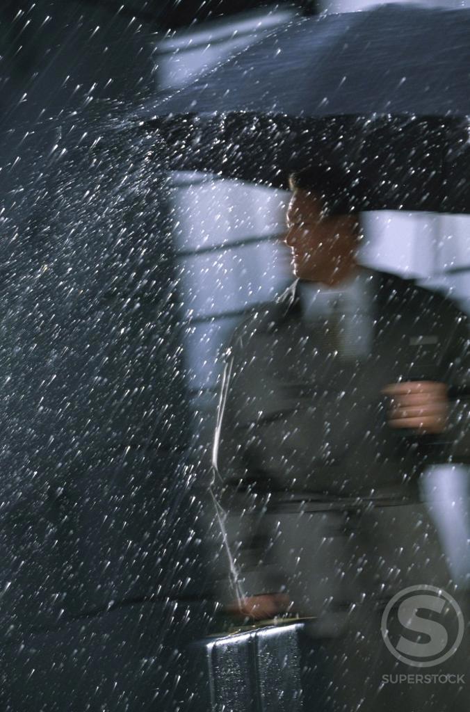 Businessman holding an umbrella and a briefcase : Stock Photo