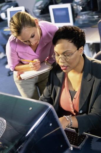 Stock Photo: 1099-6265A High angle view of a female teacher and her student in front of a computer