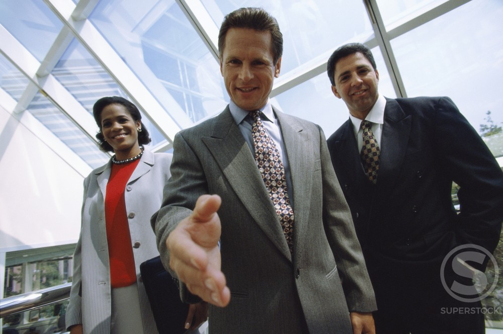 Stock Photo: 1099-944 Portrait of a businesswoman and two businessmen smiling