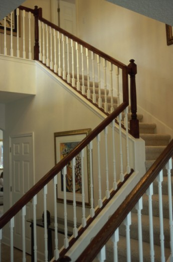 Stock Photo: 1099R-6298 Banister along a staircase