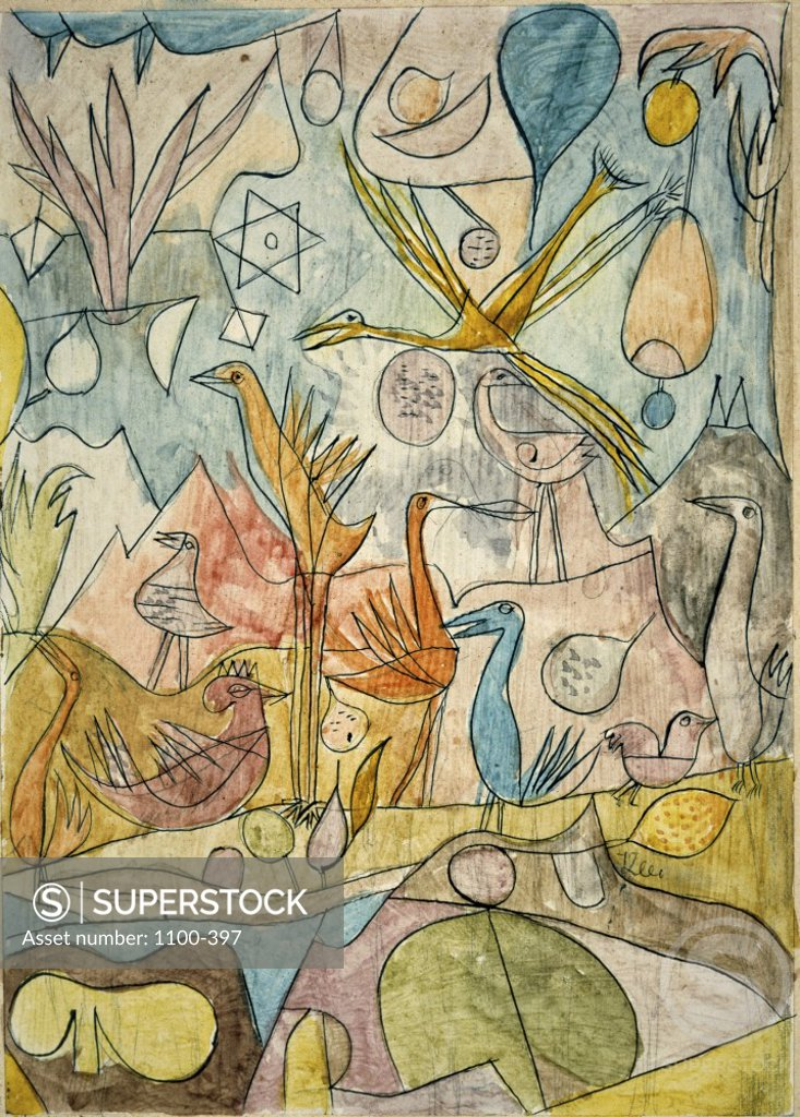 Stock Photo: 1100-397 Collection of Birds  (Vogelsammlung)  1917 Paul Klee (1879-1940/Swiss)   Watercolor, Ink, and Pencil