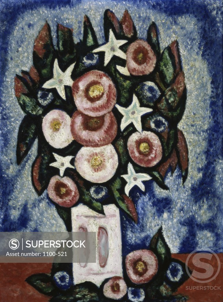 Stock Photo: 1100-521 Night and Some Flowers  c. 1940  Marsden Hartley (1877-1943 American)   Oil on canvas board