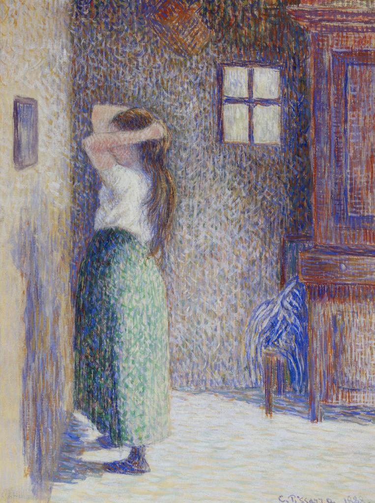 Stock Photo: 1100-1014 Jeune Paysanne a sa Toilette 1888 Camille Pissarro (1830-1903 French) Gouache on Linen Christie's Images, New York, USA