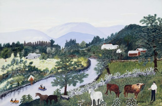 Stock Photo: 1100-1015 At the Bend of the River Grandma Moses (1860-1961 American) Oil and Tempera on Board Christie's Images, New York, USA