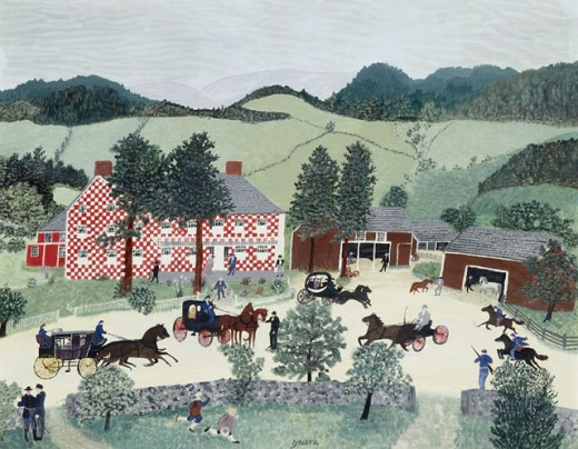 Stock Photo: 1100-1022 The Old Checkered House Grandma Moses (1860-1961 American) Oil and Tempera on Board Christie's Images, New York, USA