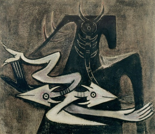 Stock Photo: 1100-1025 The Warrior Wifredo Lam (1902-1982 Cuban) Oil on Canvas Christie's Images, New York, USA