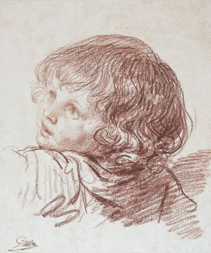 A Young Boy, Bust-length, Turned to the Left Jean Baptiste Greuze (1725-1805 French) Red Chalk Christie's Images, New York, USA : Stock Photo