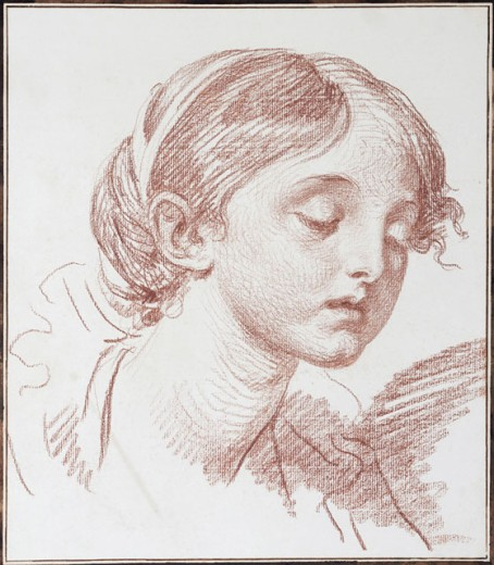 Head of a Girl Looking Down, in Three-quarter Profile Jean Baptiste Greuze (1725-1805 French) Red Chalk Christie's Images, New York, USA : Stock Photo