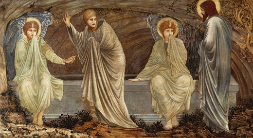Stock Photo: 1100-1052 The Morning Of The Resurrection.   Sir Edward Coley Burne-Jones (1833-1898).  Oil On Panel, 1882.