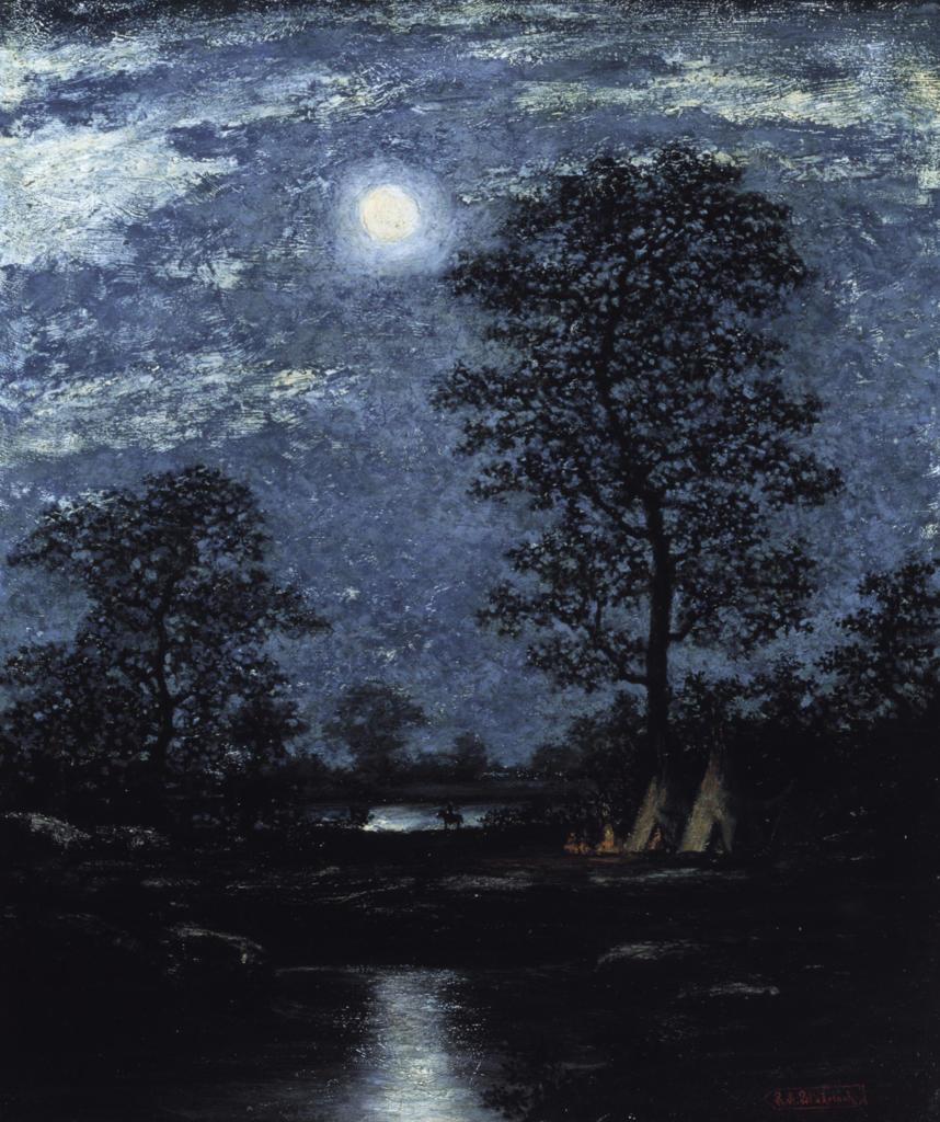 Stock Photo: 1100-147 Teepees in the Moonlight Ralph Albert Blakelock (1847-1919 American) Christie's Images, New York