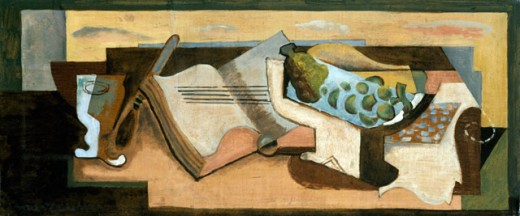 Stock Photo: 1100-277 Still Life Nature Morte 1925 Louis Casimir Marcoussis (1883-1941 French) Oil On Board Christie's Images, New York, USA