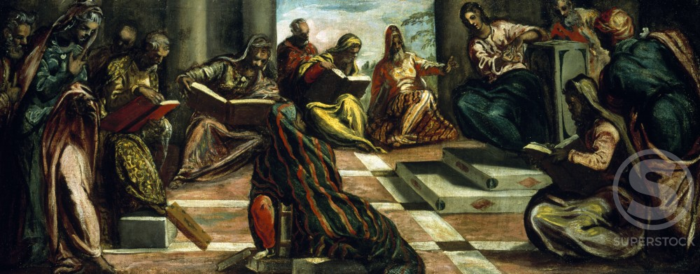 Stock Photo: 1100-347 Christ among the Doctors by Jacopo Tintoretto,  oil on canvas,  circa 1555,  (1518-1594)
