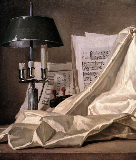 A Bouillette Lamp, a Sheet of Music, a Violin & White Satin Cloth On a Stone Ledge