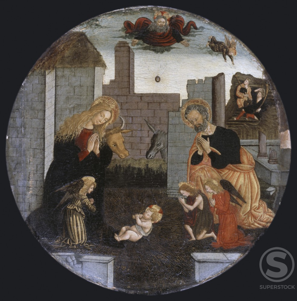The Nativity  Pier Francesco Fiorentino (1444-1497/Italian) Oil on wood panel  : Stock Photo