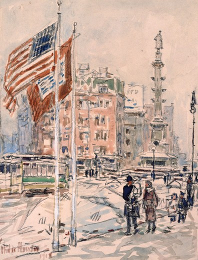 Flags,  Columbus Circle by Frederick Childe Hassam,  (1859-1935),  USA,  New York,  Christie's Images : Stock Photo