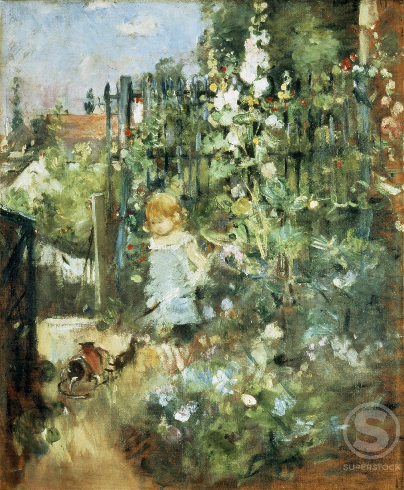 Stock Photo: 1100-607 Child in the Holyhocks 