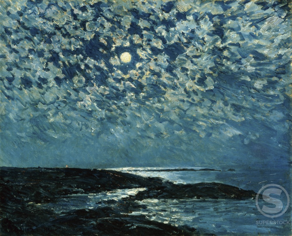 Stock Photo: 1100-707 Moonlight, Isle of Shoals 