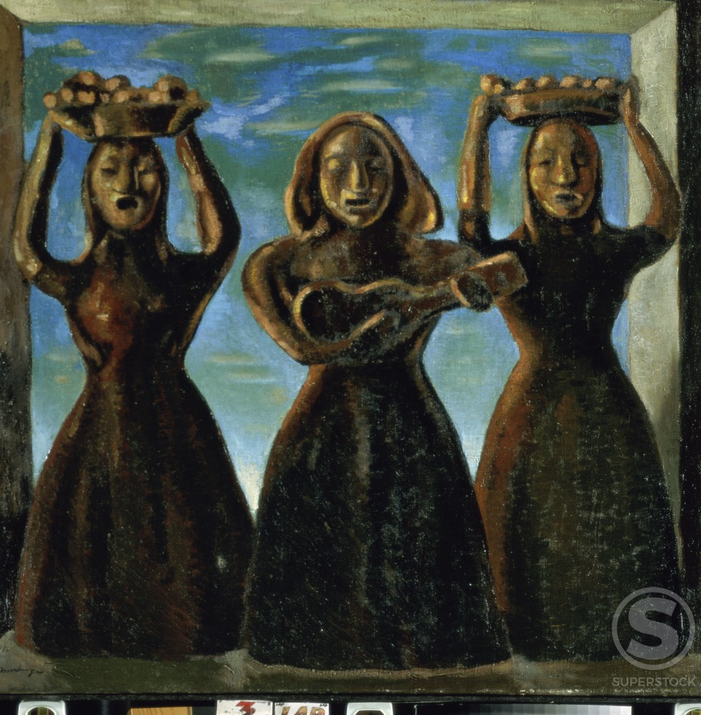 Stock Photo: 1100-735 Little Indian Folksingers  (Inditas Cantadoras)  Roberto Montenegro (1885-1968/Mexican)   Oil on Canvas