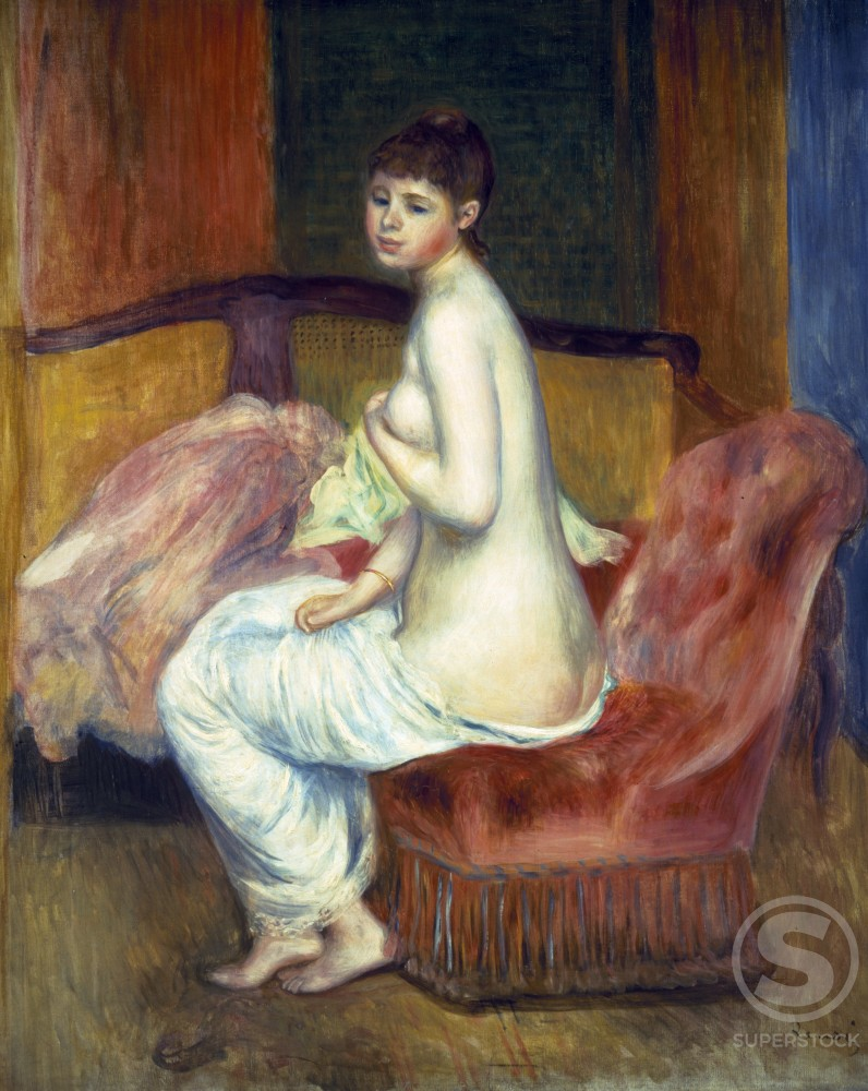 Stock Photo: 1100-739 Seated Nude by Pierre Auguste Renoir,  oil on canvas,  1885,  (1841-1919)