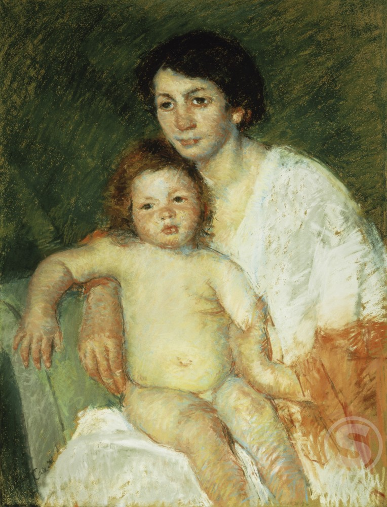Stock Photo: 1100-744 Nude Baby on Mother's Lap Resting Her Arm on the Back of the Chair