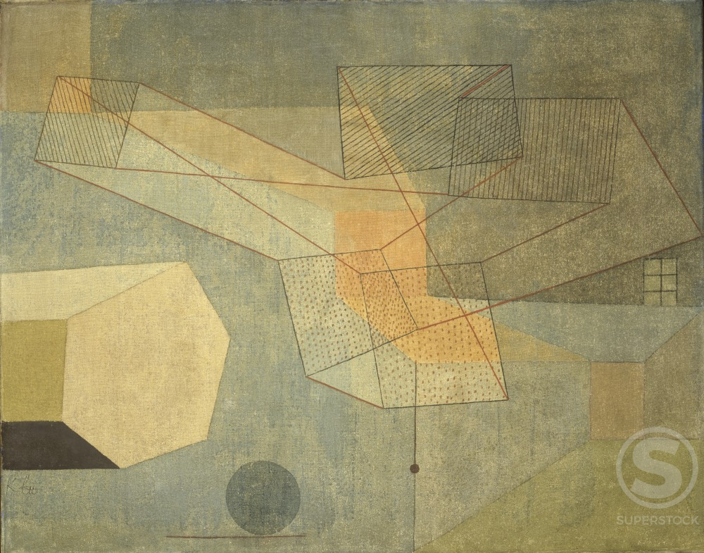Gleitendes  1930 Paul Klee (1879-1940 Swiss) Oil on Silk   : Stock Photo